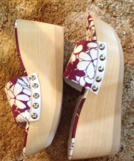 Prada Studded Wooden Soles Fabric Made In Italy Miu Miu Purple and Off White Platforms