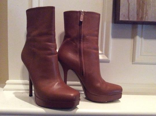 Gucci Leather Classic - Sz. 40 Cuir/Tan Platform Ankle Bootie / Boots