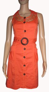 Leshop short dress Orange with Dark Brown Wooden Buttons and Buckle Lace Pockets Vintage Look on Tradesy