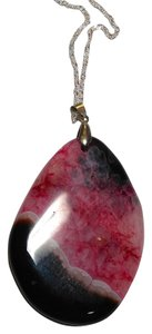Other Pink & Black Agate Stone Necklace Sterling Silver N091