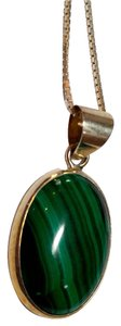 Malachite Stone Pendant Necklace Sterling Silver N089