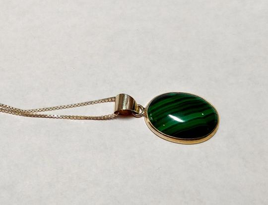 Other Malachite Stone Pendant Necklace Sterling Silver A022
