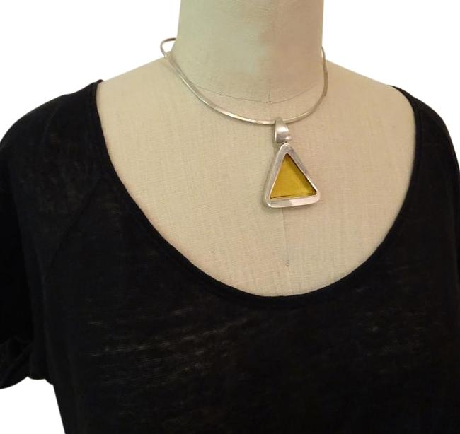 Silver Sterling and Citrine Stone Choker Necklace Image 1