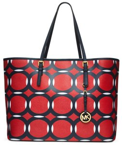 Michael Kors Michael Large Jet Set Deco Travel Saffiano Leather 888235207292 Tote in Mandarian / Navy / White