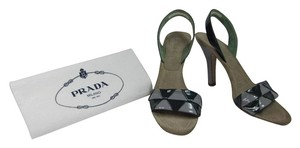 Prada Leather Slingback Green Sandals