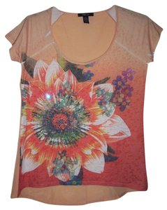 Style & Co Hi Lo Floral T Shirt Sunrise Flower