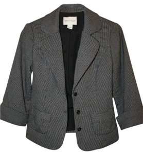 White House | Black Market And Check 3/4 Sleeve Black Blazer