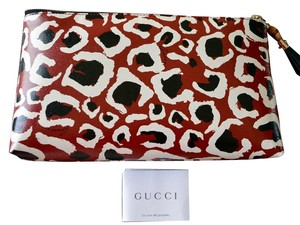 Gucci New Gucci Women's Large Cheetah G Bamboo Zip Cosmetic Clutch Case