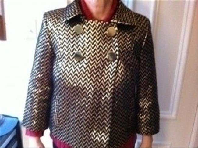 MILLY Cropped Jacket As Seen On Runway Top Gold and black metallic