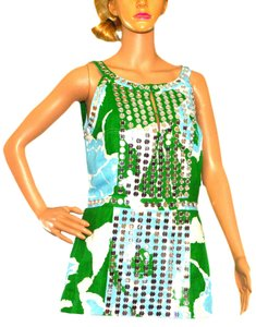 Tory Burch short dress Green / White / Silver on Tradesy