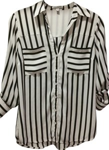 Express Button Down Shirt Black/White