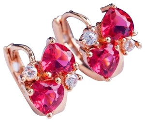 14K Gold Filled Hoop Earrings Red Cubic Zirconia J1708