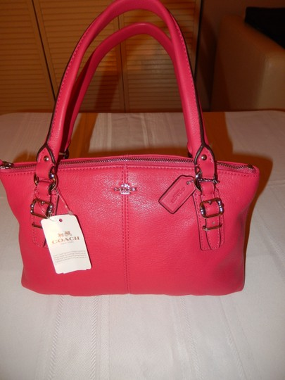 Coach Leather Satchel in Pink Ruby