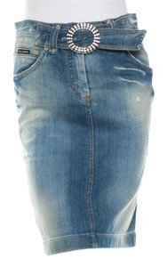 Dolce&Gabbana Distressed Denim Crystal Buckle Pencil Skirt Blue