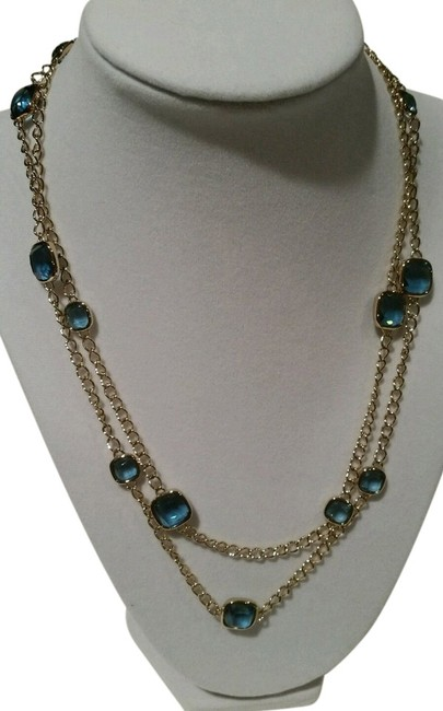 Item - Gold Tone Blue Stones Station Inch New with Tag Pouch Necklace