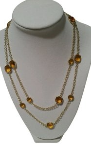 Michael Kors MICHAEL KORS Gold Tone Amber Stones Station Necklace 40 inch NEW WITH TAG POUCH