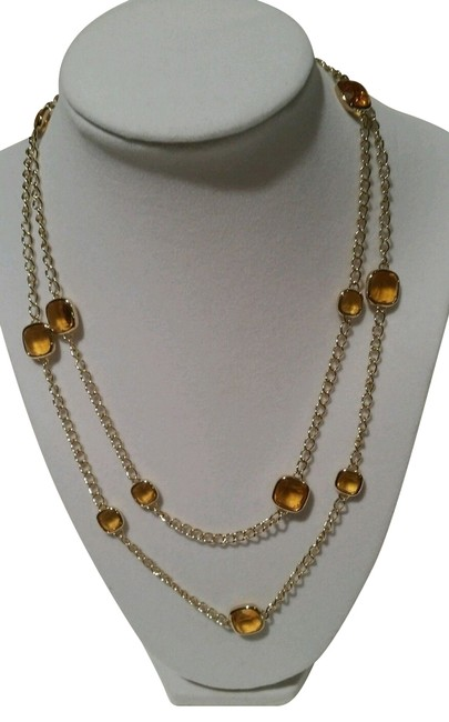 Item - Gold Tone Amber Stones Station Inch New with Tag Pouch Necklace