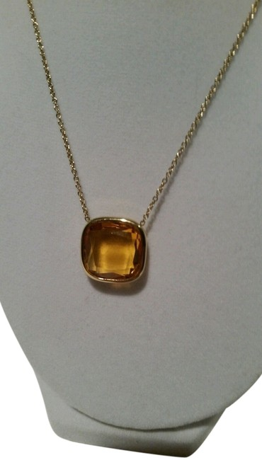 Item - Gold Tone Amber Colored Pendant New with Tags Pouch Necklace
