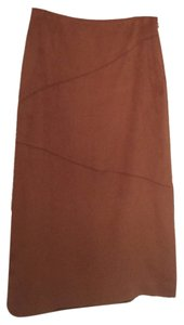 BCBGMAXAZRIA Suede-like Soft Long Skirt Brown