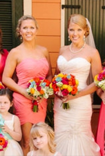 Other Watermelon Pink Gathered Short Bridesmaid Wedding Maid Of Honor Dress