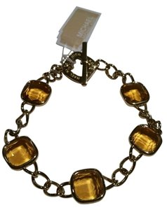 Michael Kors MICHAEL KORS Gold Tone Amber Colored Stones Toggle Bracelet NEW WITH TAGS POUCH