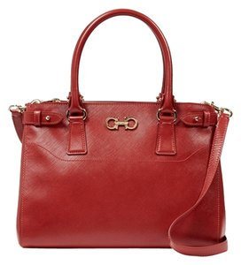 Salvatore Ferragamo Red Safiano Leather Satchel in Red, Rosso