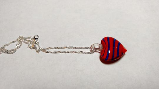 Other Blown Glass Heart Pendant Necklace Sterling Silver Chain A031