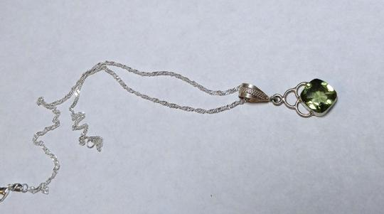 Other Green Topaz Stone Necklace Sterling Silver A030