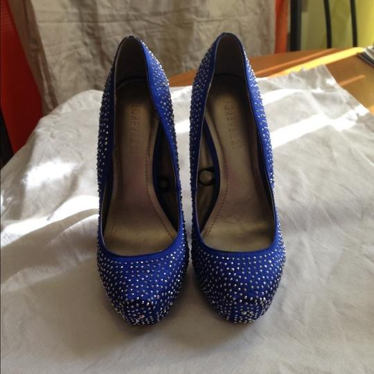 Forever 21 Jeweled Embellished Heels Platforms Stiletto Blue Formal