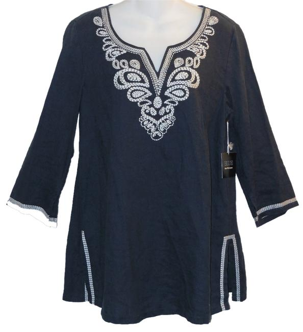 Item - Blue Embroidered Linen Casual Tunic Size 10 (M)