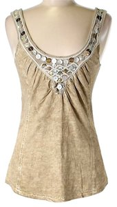 Free People Embellished Shells Top Beige