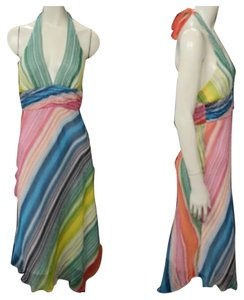 Rainbow Colored Maxi Dress by BCBGMAXAZRIA Bcbg Silk Halter