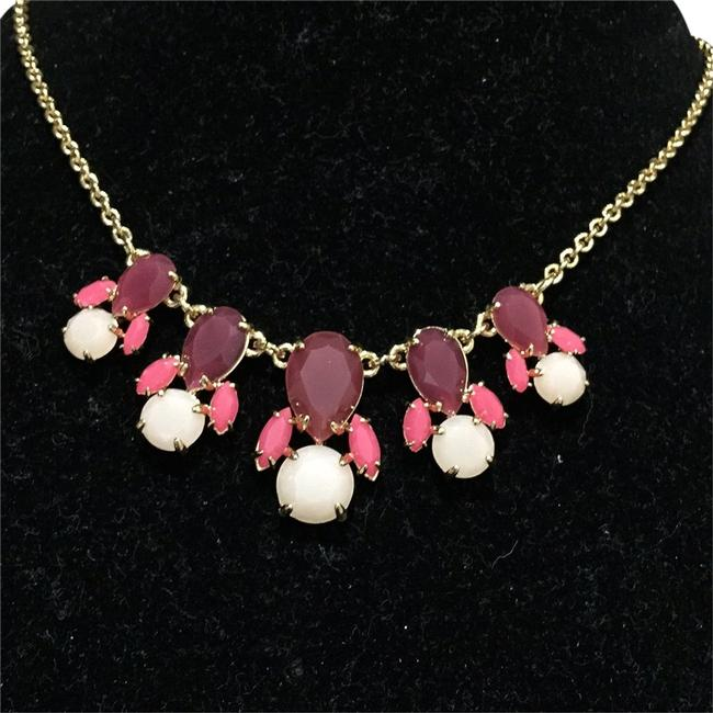 Kate Spade Wine/Coral/Off-white Crystal 3-tone Crystal Necklace Kate Spade Wine/Coral/Off-white Crystal 3-tone Crystal Necklace Image 1