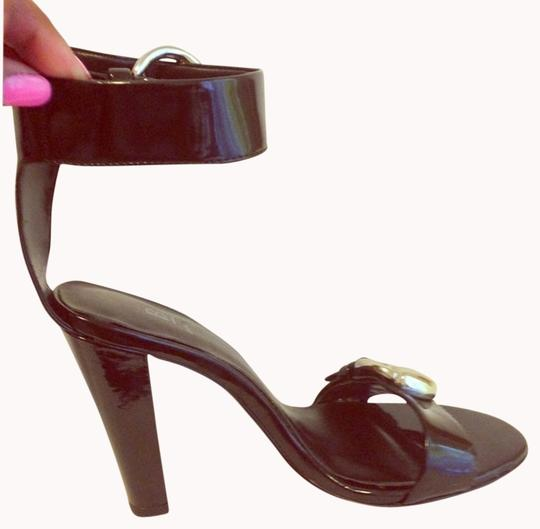 Bakers New Buckle Heels Patent Leather Black Sandals