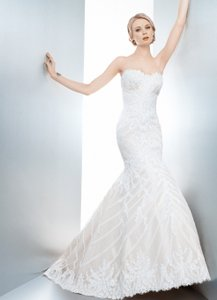 Matthew Christopher Ivory Silk with Lace Overlay Sophia Traditional Wedding Dress Size 6 (S)