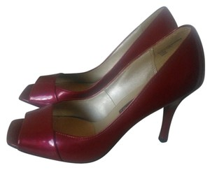 Ellemenno Peep Toe Candy Apple Red Pumps