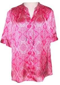 Elementz Button Neckline Chain Detail Pullover Plus Size Top Pink