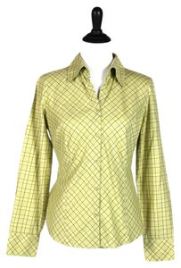Ann Taylor LOFT Button Down Shirt Yellow, Brown