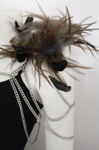 Women Silver Metal Body Chains 1 Shoulder Fashion Jewelry Black Feathers Harness
