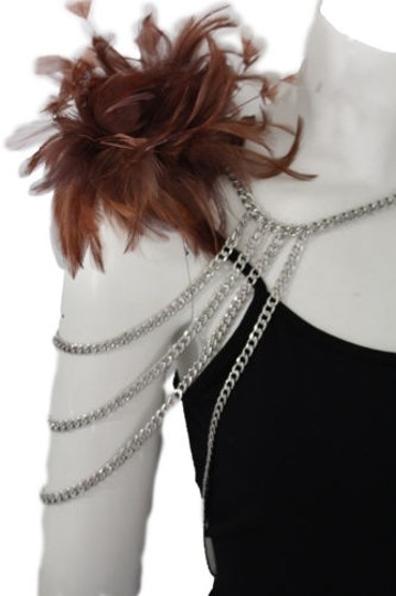 Preload https://img-static.tradesy.com/item/9966973/women-silver-metal-body-chains-1-shoulder-fashion-jewelry-brown-feathers-harness-0-0-540-540.jpg