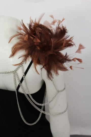 Other Women Silver Metal Body Chains 1 Shoulder Fashion Jewelry Brown Feathers Harness