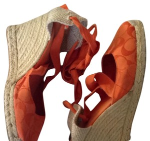 Coach Espadrille Signature Ankle Wrap Orange Wedges