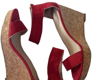 Adrienne Vittadini Cork Platform Red Wedges