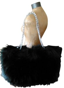 Tracey Vest Tote in Black Faux Fur Oversized Tote Handbag Purse With Silver Chain Handles