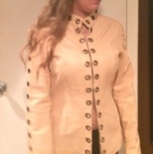 Sheri Bodell Couture Leather Jacket with metal grumets ! Sz M/L Lk New!!!! Tan Leather Jacket