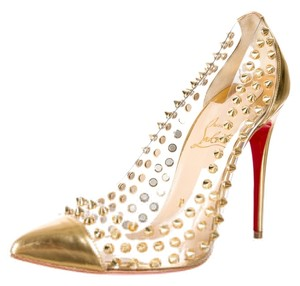 Christian Louboutin Picks & Co Picks Potpourri Spike Studded Hardware Metallic Metallic Hardware Pointed Toe Stiletto Ankle Strap Lace 37 Gold Pumps
