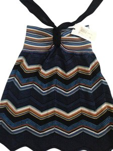 Missoni Tags Blue/black Knit Multicolor Pattern Halter Top