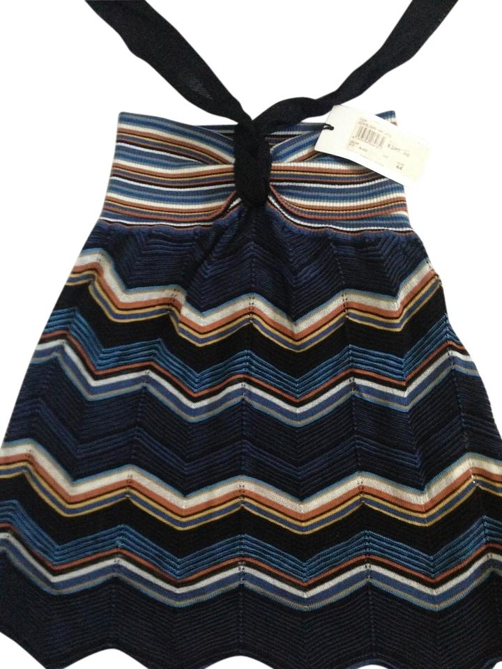 Missoni Blueblack Knit Multicolor Pattern With Tag Halter Top Size