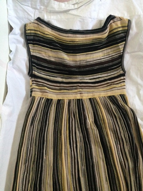 Yellow Mustard Black Multicolor Knit Pattern Maxi Dress by Missoni
