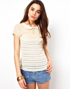Free People Polka Dot Sheer Mesh Tiered Ruffle Peter Pan Collar Keyhole Nylon Cotton Top cream